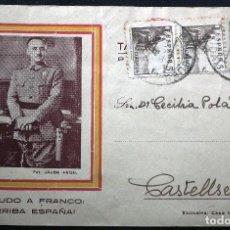 Postales: POSTAL SALUDO A FRANCO : ¡ ARRIBA ESPAÑA | , POR JALÓN ÁNGEL. EDITA.CASA SABATER - ZARAGOZA. Lote 115622359