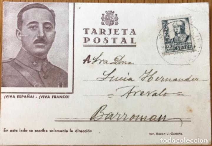 TARJETA POSTAL PATRIÓTICA ¡VIVA ESPAÑA! ¡VIVA FRANCO! - BARROMÁN (AVILA) (Postales - Postales Temáticas - Guerra Civil Española)