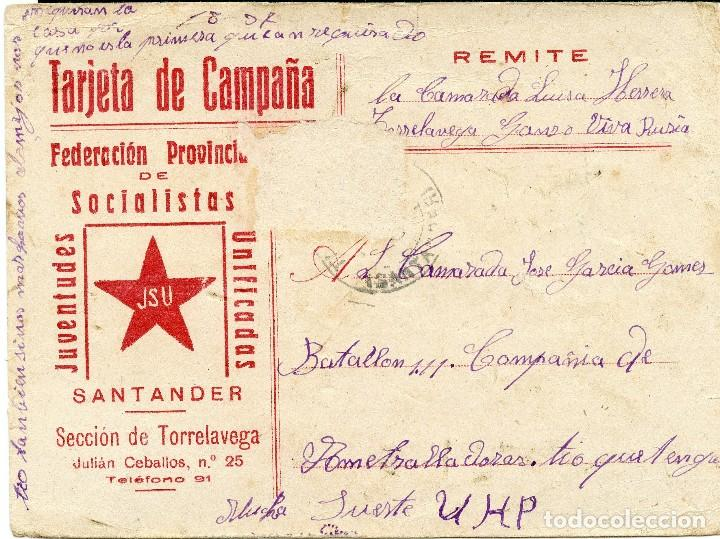 TARJETA JSU - JUVENTUDES SOCIALISTAS UNIFICADAS TORRELAVEGA - SANTANDER CIRCULADA AL FRENTE (Postales - Postales Temáticas - Guerra Civil Española)