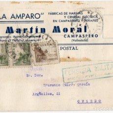 Postales: POSTAL PUBLICITARIA FABRICA HARINAS. CAMPASPERO. VALLADOLID. ASTURIAS CENSURA MILITAR PEÑAFIEL .1939. Lote 120620915