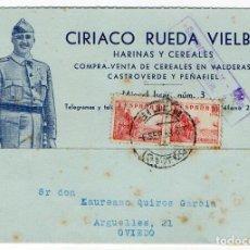 Postales: POSTAL PUBLICITARIA HARINAS Y CEREALES. ASTURIAS. GIJON. CENSURA MILITAR. 1938. GUERRA CIVIL. Lote 120621179