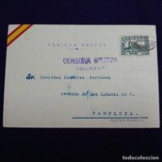 Postales: ANTIGUA POSTAL PATRIOTICA CON CENSURA MILITAR DE VALLADOLID. CIRCULADA EL 29 ABRIL 1937.ORIGINAL. Lote 121615719