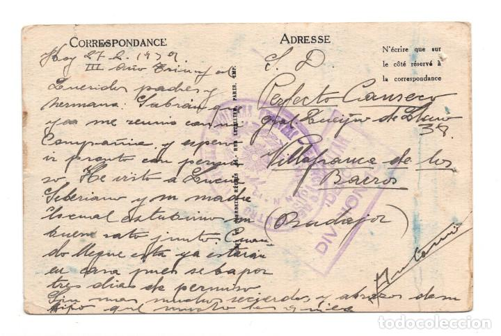 Postales: CENSURA MILITAR INTENDENCIA DIVISIÓN 13 - MANO NEGRA - FRANQUICIA EJERCITO DEL CENTRO DIVISIÓN 13 - Foto 2 - 121668427
