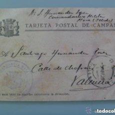 Postales: GUERRA CIVIL : TARJETA DE CAMPAÑA DE LA REPUBLICA, CIRCULADA DESDE MORA ( TOLEDO ) A VALENCIA, 1939. Lote 121920943