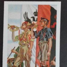 Postales: DESFILE Y TROMPETISTAS FALANGUISTAS EDICIONES ANTALBE. Lote 122244727