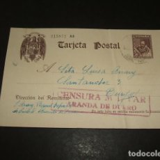 Postales: TARJETA POSTAL GUERRA CIVIL CIRCULADA DE ARANDA DE DUERO A BURGOS CENSURA MILITAR ARANDA DE DUERO. Lote 122553691