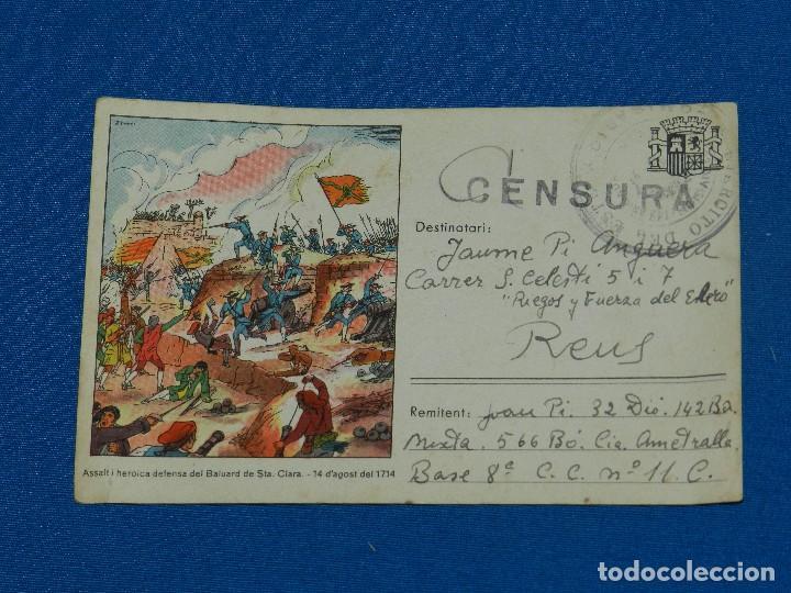 POSTAL ASSALT I HEROICA DEFENSA BALUARD DE STA CLARA 1714 , CENSURADA , ENVIADA 1939, GUERRA CIVIL (Postales - Postales Temáticas - Guerra Civil Española)
