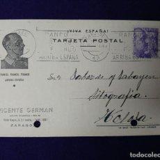 Postales: ANTIGUA POSTAL PATRIOTICA. FRANCO. ARRIBA -VIVA ESPAÑA. VICENTE GERMAN ZARAGOZA. ORIGINAL. Lote 123701707