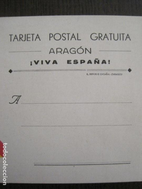 Postales: GUERRA CIVIL - TARJETA POSTAL DOBLE - VIVA ESPAÑA -ARAGON-UNA PATRIA UN ESTADO -VER FOTOS-(53.109) - Foto 3 - 127252771