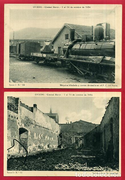 Postales: COLECCION FOTOS, OVIEDO CIUDAD MARTIR 1934, GUERRA CIVIL , 1ª I PRIMERA SERIE, 15 FOTOS ORIGINALES - Foto 4 - 127940939