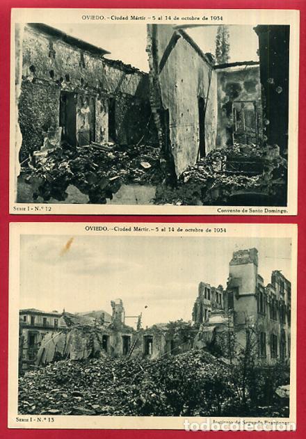 Postales: COLECCION FOTOS, OVIEDO CIUDAD MARTIR 1934, GUERRA CIVIL , 1ª I PRIMERA SERIE, 15 FOTOS ORIGINALES - Foto 5 - 127940939