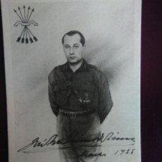 Postales: POSTAL CON FIRMA DE JOSÉ ANTONIO PRIMO DE RIVERA. SIN CIRCULAR.. Lote 128154419