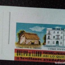 Postales: QUEIPO DE LLANO. !! SEVILLANOS AYUDADLES !!. CÓMO VIVE EL OBRERO Y CÓMO VIVIRÁ.. Lote 128160075