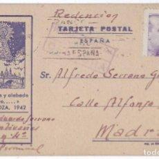 Postales: TARJETA POSTAL PRISIÓN PROVINCIAL DE ZARAGOZA. REDENCIÓN. CENSURA (1942). Lote 128161755