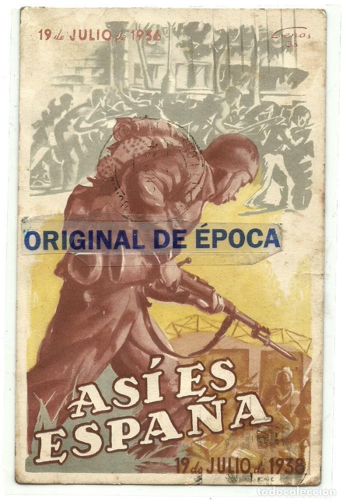 (XJ-180757)POSTAL ASI ES ESPAÑA - CIRCULADA - GUERRA CIVIL (Postales - Postales Temáticas - Guerra Civil Española)