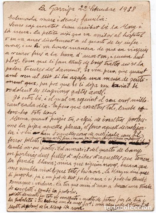 Postales: PS7821 TARJETA POSTAL DE CAMPAÑA SIA. LA GARRIGA. CIRCULADA. 1938 - Foto 2 - 129271239