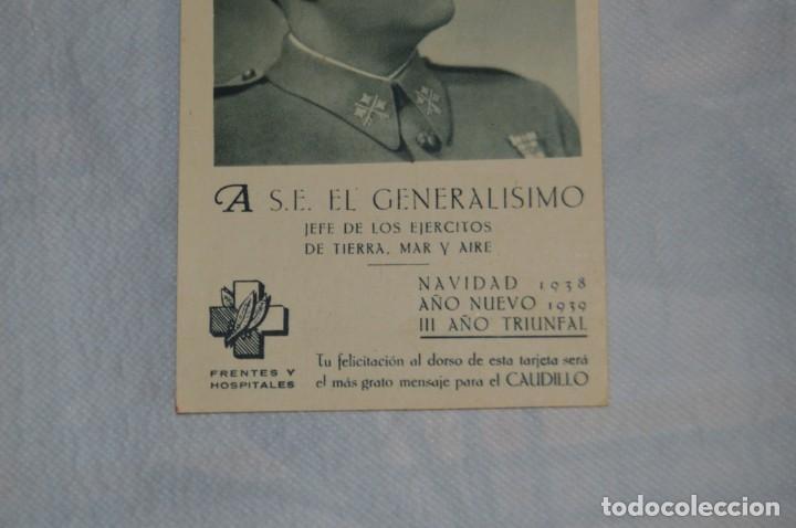 Postales: RARÍSIMA POSTAL GUERRA CIVIL - FELICITACIÓN NAVIDAD 1938 GENERALÍSIMO FRANCO - ENVÍO 24H - Foto 3 - 132362834