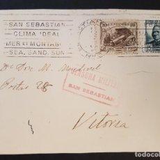Postales: POSTAL CIRCULADA CON CENSURA MILITAR DE SAN SEBASTIAN SELLO CRUZADA CONTRA EL FRIO. Lote 132764474