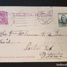 Postales: POSTAL CIRCULADA CON CENSURA MILITAR DE CORREOS BILBAO DIRIGIDA A VITORIA 1937. Lote 132764578