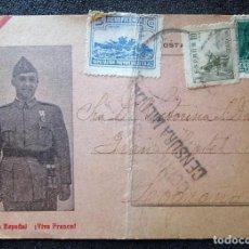 Postales: (JX-181007)POSTAL PATRIÓTICA,TARJETA POSTAL - VIVA ESPAÑA ¡VIVA FRANCO ! 1939,CON CENSURA MILITAR. Lote 135257634