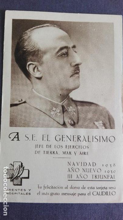 POSTAL GUERRA CIVIL BANDO NACIONAL FRANCO NAVIDAD 1938 TARJETA FELICITACION NAVIDAD PERFECTA CONSERV (Postales - Postales Temáticas - Guerra Civil Española)