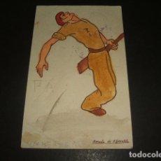 Postales: POSTAL GUERRA CIVIL REQUETE CARLISMO CAIDO 1938 FRANQUICIA FALANGE EL DRAGON CENSURAS. Lote 139319894