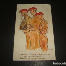 Postales: POSTAL GUERRA CIVIL REQUETE CARLISMO 1938 FRANQUICIA FALANGE EL DRAGON CENSURAS. Lote 139320590