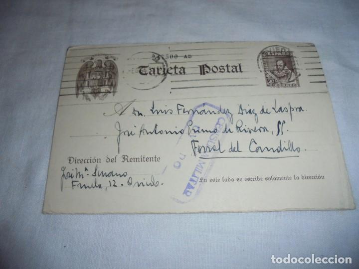 TARJETA POSTAL.CENSURA MILITAR OVIEDO 1939 (Postales - Postales Temáticas - Guerra Civil Española)