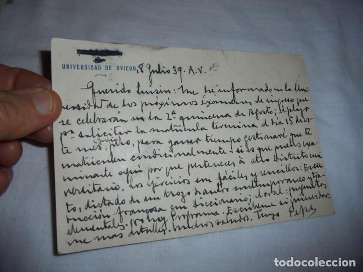 Postales: TARJETA POSTAL FRANCO FOTO JALON .CENSURA MILITAR OVIEDO 1939. - Foto 2 - 142610454