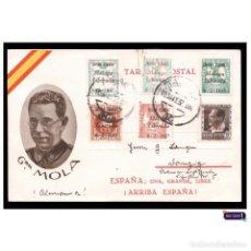Postales: ESPAÑA 1937. GENERAL MOLA. TARJETA POSTAL PATRIÓTICA GUERRA CIVIL. MÁLAGA LIBERADA. CIRCULADA -LEER-. Lote 146687598