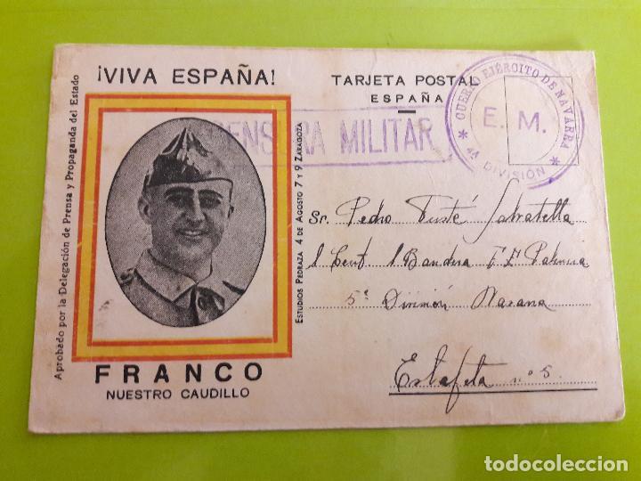 POSTAL GUERRA CIVIL FRANQUISTA CENSURA MILITAR EJERCITO DE NAVARRA (Postales - Postales Temáticas - Guerra Civil Española)