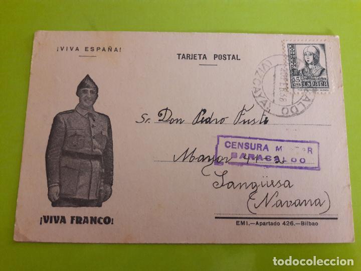 POSTAL GUERRA CIVIL FRANQUISTA CENSURA MILITAR BARACALDO (Postales - Postales Temáticas - Guerra Civil Española)
