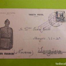 Postales: POSTAL GUERRA CIVIL FRANQUISTA CENSURA MILITAR BARACALDO. Lote 146952774