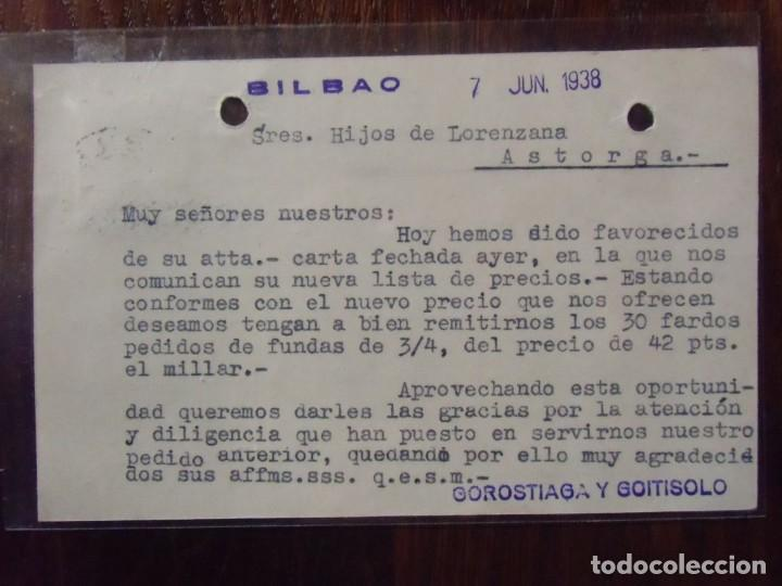 Postkarten: GUERRA CIVIL.TARJETA POSTAL CIRCULADA BILBAO/ASTORGA 7/6/1938.CENSURA MILITAR. - Foto 2 - 147501714