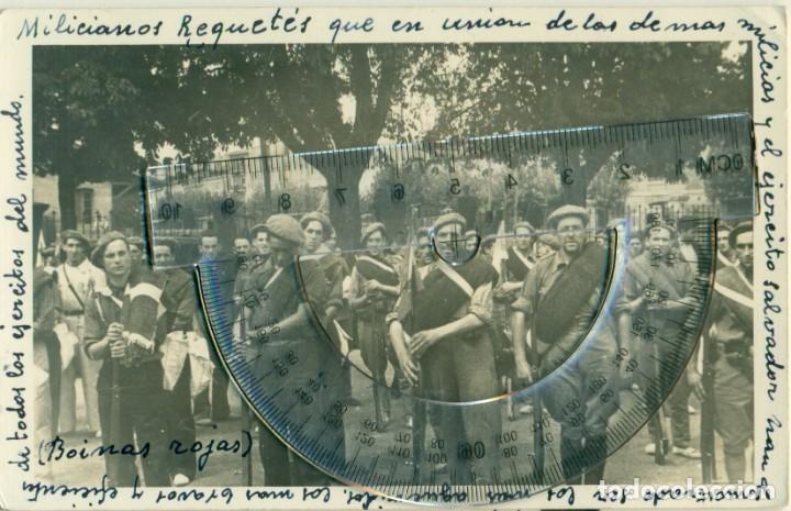 LOGROÑO GUERRA CIVIL 1936. SOLDADOS REQUETÉS CARLISTAS. FOTO Y TEXTO DEL DOCTOR LOYOLA. PIEZA ÚNICA. (Postales - Postales Temáticas - Guerra Civil Española)