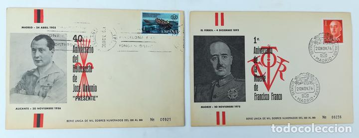 2 SOBRES.ANIVERSARIO MUERTE FRANCISCO FRANCO Y JOSÉ ANTONIO PRIMO DE RIVERA. BARCELONA 1976 (Postales - Postales Temáticas - Guerra Civil Española)