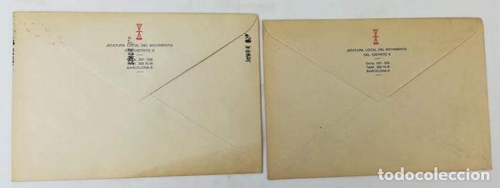 Postales: 2 SOBRES.ANIVERSARIO MUERTE FRANCISCO FRANCO Y JOSÉ ANTONIO PRIMO DE RIVERA. BARCELONA 1976 - Foto 2 - 150956434