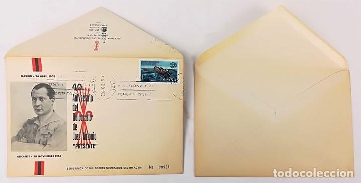 Postales: 2 SOBRES.ANIVERSARIO MUERTE FRANCISCO FRANCO Y JOSÉ ANTONIO PRIMO DE RIVERA. BARCELONA 1976 - Foto 3 - 150956434