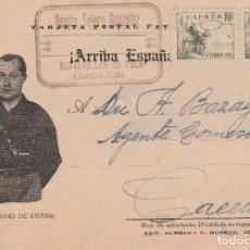 Postales: GUERRA CIVIL POSTAL CIRCULADA EN 1937 VIVA PRIMO DE RIVERA. Lote 151416206