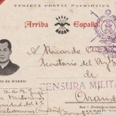 Postales: GUERRA CIVIL POSTAL CIRCULADA EN 1938 VIVA PRIMO DE RIVERA CENSURA MILITAR. Lote 151416466