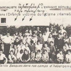 Postales: POSTAL FRANCESA G. CIVIL COMITE SOCIALISTA SOCORRO ESPAÑA REPUBLICA. NIÑOS VASCOS. Lote 151629618