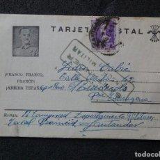 Postales: (JX-190256)TARJETA POSTAL PATRIÓTICA ENVIADA DESDE LA CÁRCEL PROVINCIAL DE SANTANDER A RIUDECOLS .. Lote 152335654