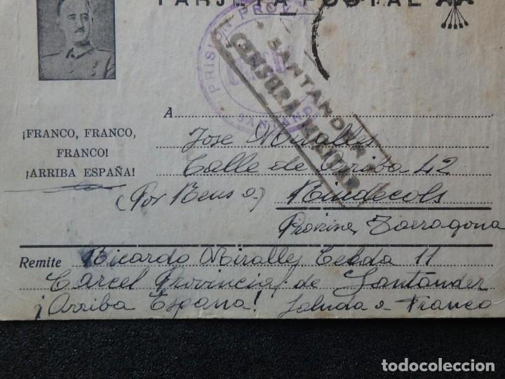 Postales: (JX-190258)Tarjeta postal patriótica enviada desde la cárcel Provincial de Santander a Riudecols. - Foto 3 - 152336326
