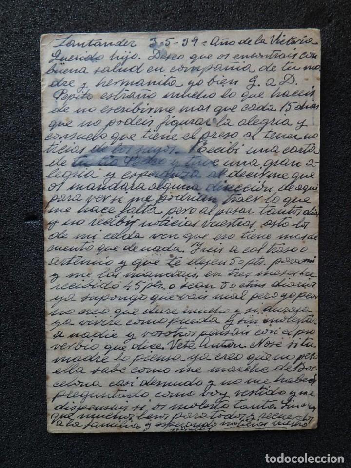 Postales: (JX-190258)Tarjeta postal patriótica enviada desde la cárcel Provincial de Santander a Riudecols. - Foto 4 - 152336326