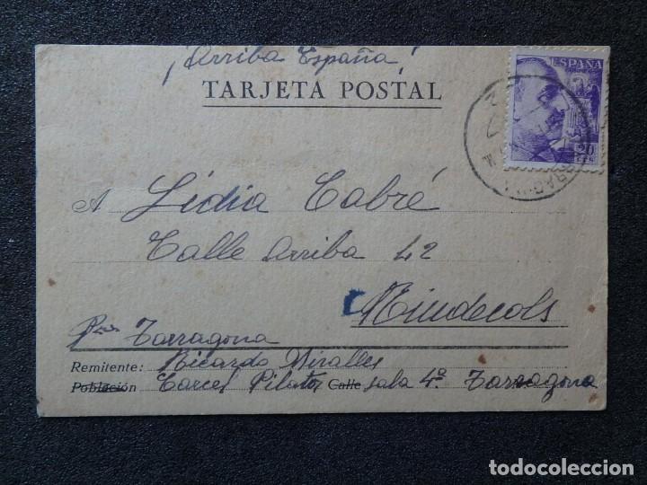(JX-190259)TARJETA POSTAL PATRIÓTICA ENVIADA DESDE LA CÁRCEL PILATOS,SALA 4 º TARRAGONA A RIUDECOLS (Postales - Postales Temáticas - Guerra Civil Española)