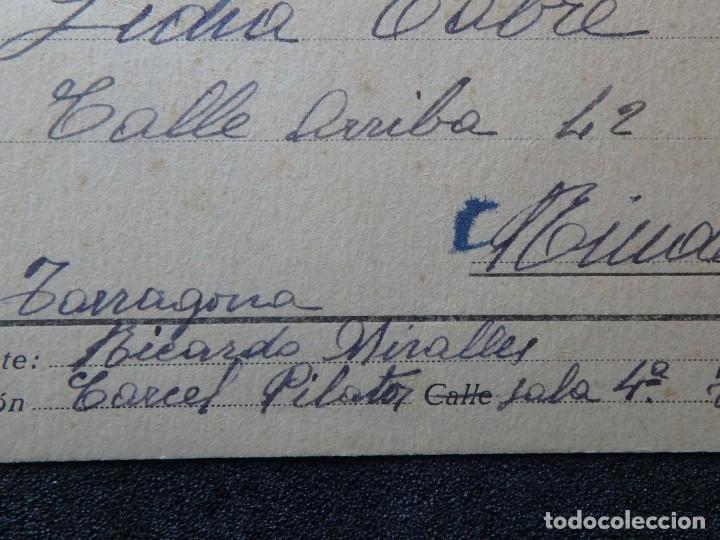 Postales: (JX-190259)Tarjeta postal patriótica enviada desde la cárcel Pilatos,sala 4 º Tarragona a Riudecols - Foto 2 - 152336690