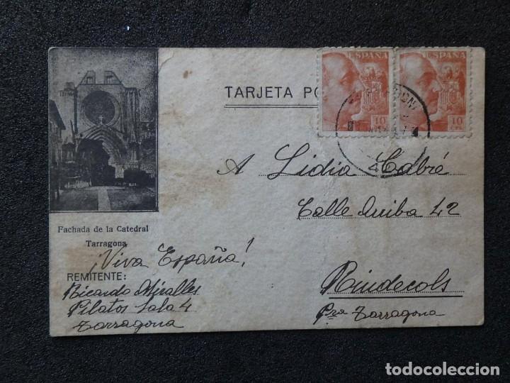 (JX-190261)TARJETA POSTAL PATRIÓTICA ENVIADA DESDE LA CÁRCEL PILATOS,SALA 4 º TARRAGONA A RIUDECOLS (Postales - Postales Temáticas - Guerra Civil Española)