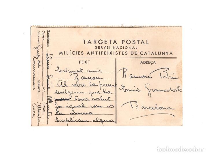 GUERRA CIVIL – TARGETA POSTAL SERVEI NACIONAL MILICIES ANTIFEIXISTES DE CATALUNYA (Postales - Postales Temáticas - Guerra Civil Española)