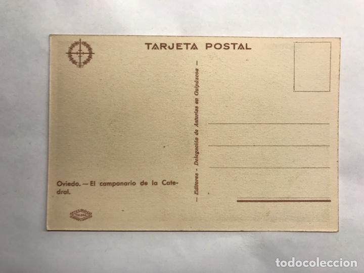 Postales: GUERRA CIVIL. Oviedo, Postal El campanario de la Catedral. Edita: Delegación de Asturias (h.1936?) - Foto 2 - 155038569