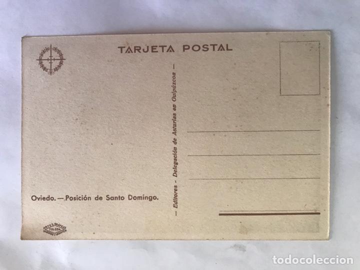 Postales: OVIEDO. Postal. Posición de Santo Domingo. Guerra Civil. Edita: Delegación de Asturias en Guipúzcoa - Foto 2 - 155545458
